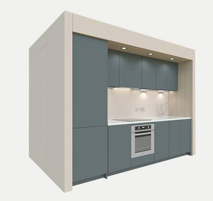 modular kitchen in co-pod