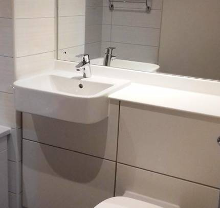 sink and wc in bathroom pod